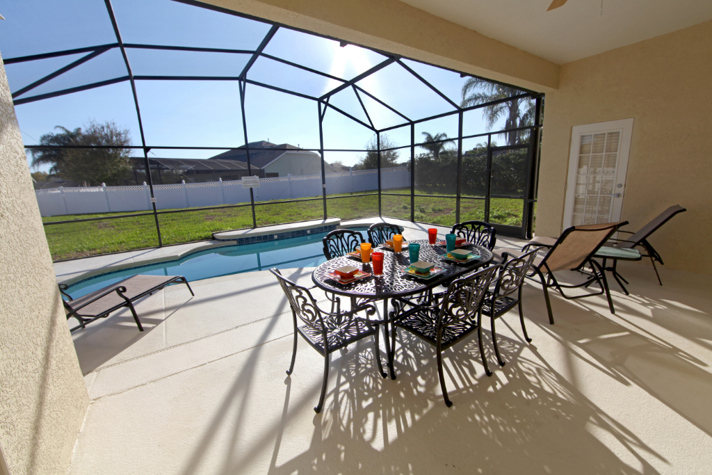A swimming pool and lanai at a home in Florida