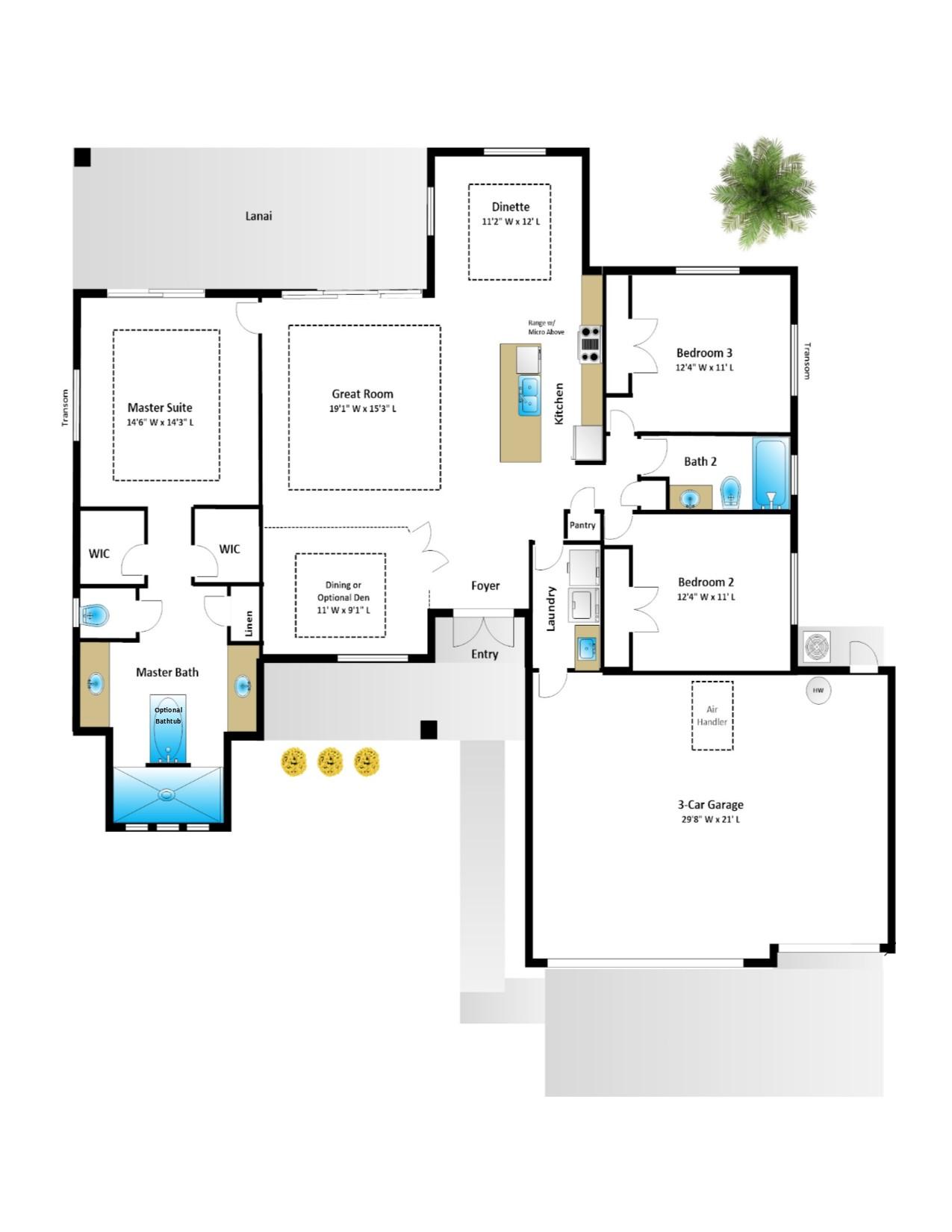 Jacaranda – 3 Bedroom 2 Bath 3 Car Garage