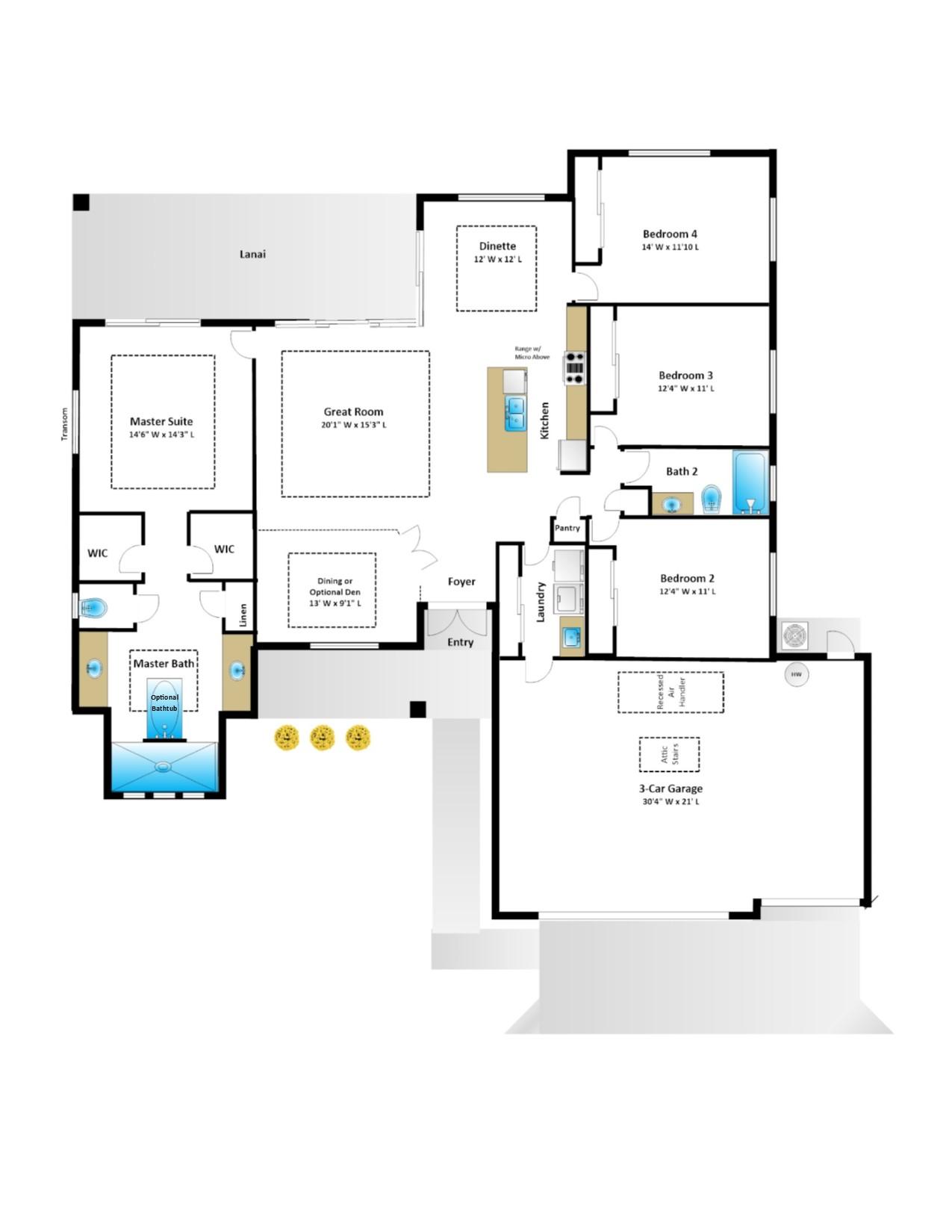 Jacaranda – 4 Bedroom 2 Bath 3 Car Garage