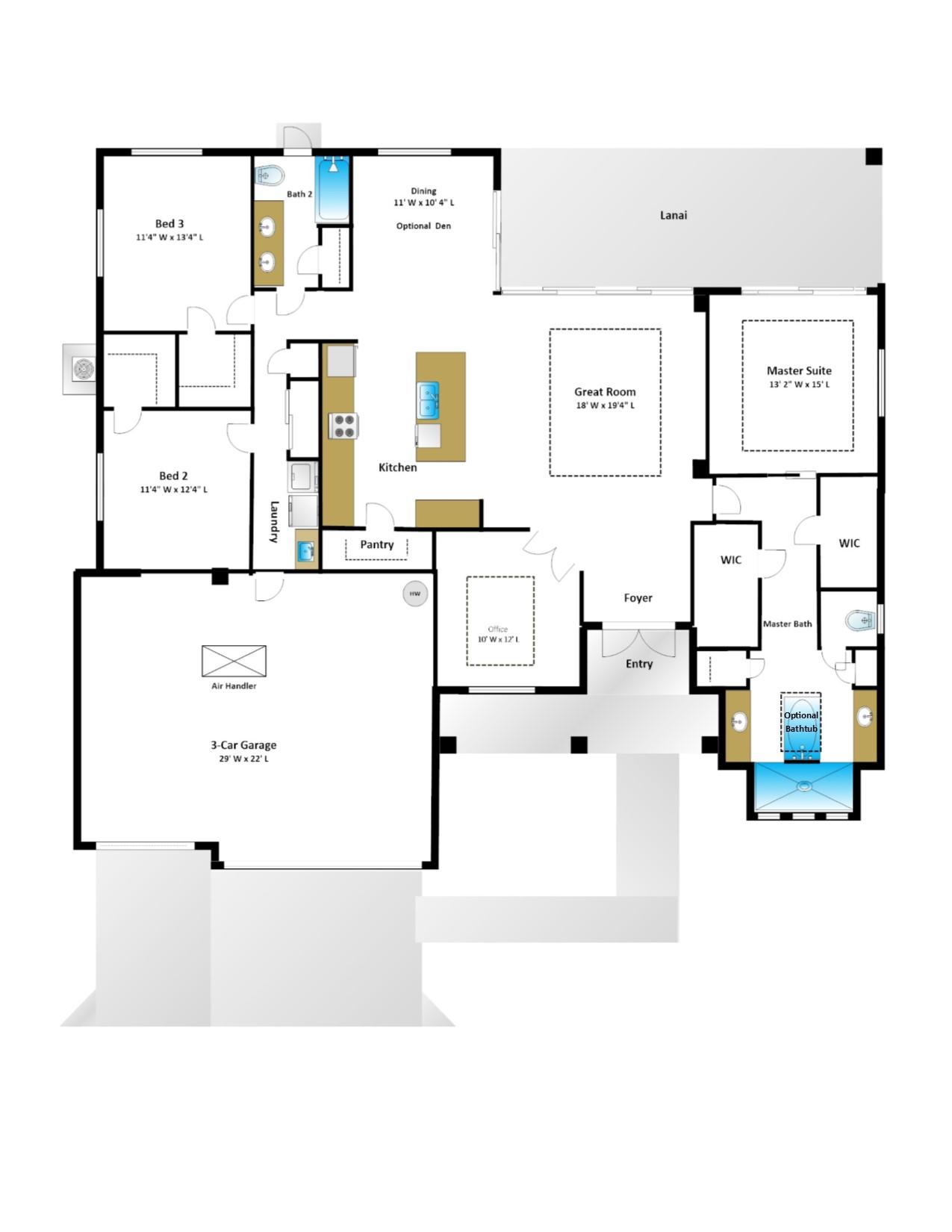 Pelican – 3 Bedroom 2 Bath 3 Car Garage